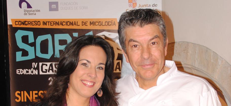 Chef Régis Marcon y Raquel Anaya