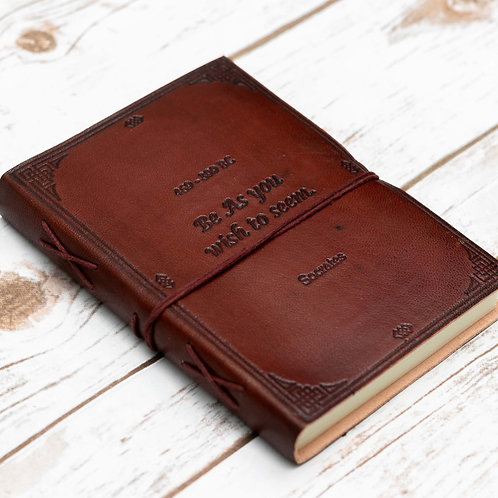 Socrates Quote Handcrafted Leather Embossed Journal