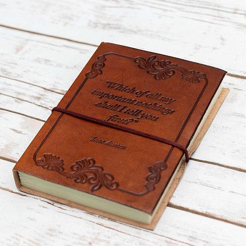 """Wonderful Nothings"" Jane Austen Handcrafted Leather Embossed Journal"