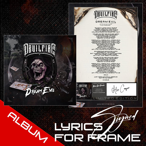 DEVILFIRE - DREAM EVIL - A4 LYRIC SHEET - READY TO FRAME.