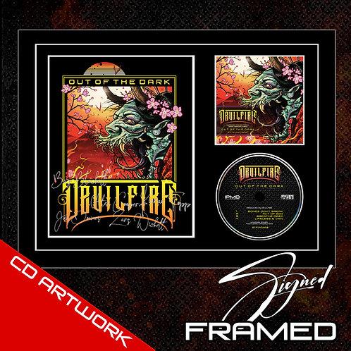 DEVILFIRE - OUT OF THE DARK SIGNED CD ARTWORK IN FRAME