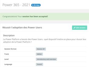 """Agenda   Retrouvez-moi sur le sujet """"Réussir l'adoption des Power Users"""" à Power 365, le 07/10/2021"""