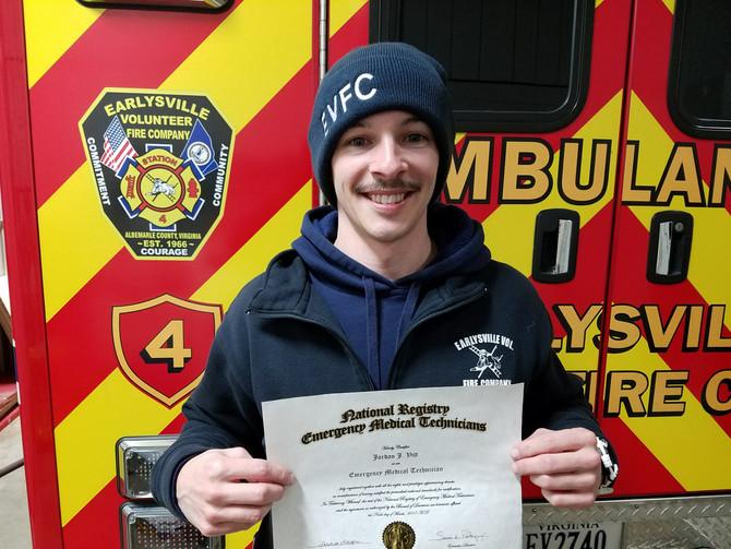 Congrats to Jordan, our new EMT