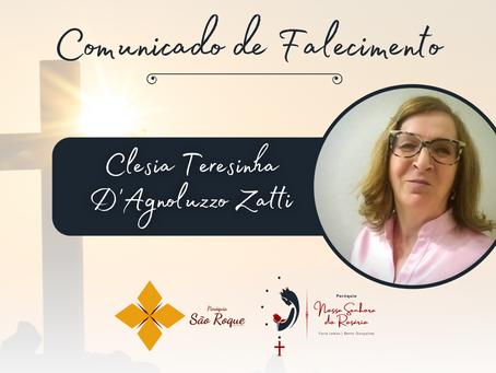 Comunicado de falecimento: Clesia Teresinha D'Agnoluzzo Zatti