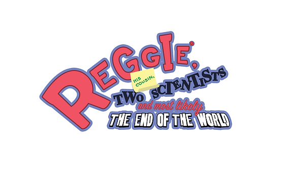 "Logo of the gravity based platfomer game ""Reggie, his cousn, two scientists and most likely the end of the world"""