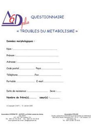 """Questionnaire """"Troubles du métabolisme"""""""