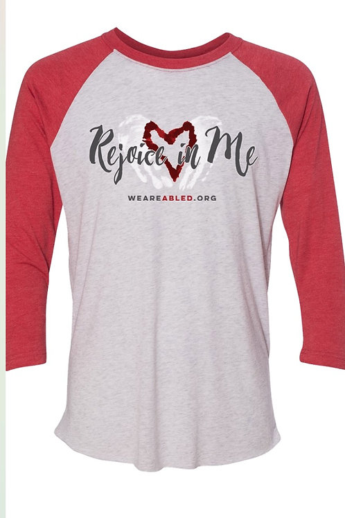 Rejoice - Heather White/Vintage Red Raglan
