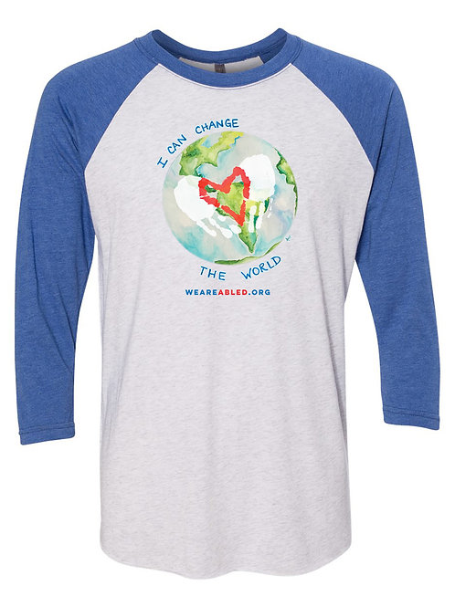 Vintage Royal/Heather White Change The World Raglan