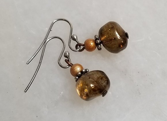 Earrings #Ear-8 - Sterling Shepherd Hook w Topaz Glass