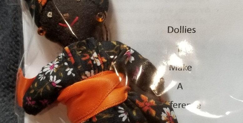 Burkinabe Lady Doll Ornament w Info Booklet - Black w Mini Flowers