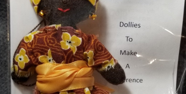 Burkinabe Lady Doll Ornament w Info Booklet - Brown w Yellow Floral