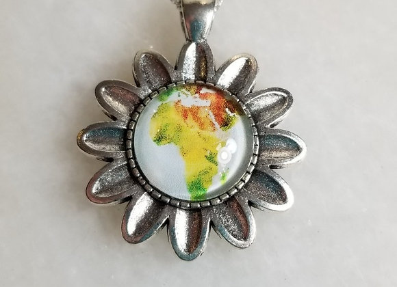 """Necklace #61  - Flower/Silver Chain - 18"""""""