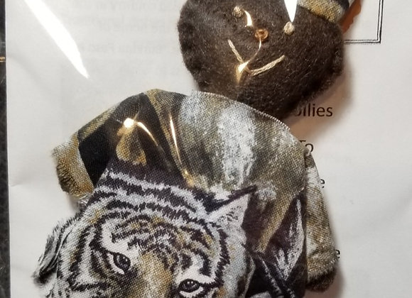 Burkinabe Man Doll Ornament w Info Booklet - Tiger Face