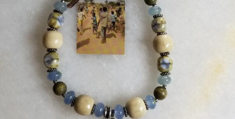 """Bracelet - Blue/Natural/Pewter -10"""""""