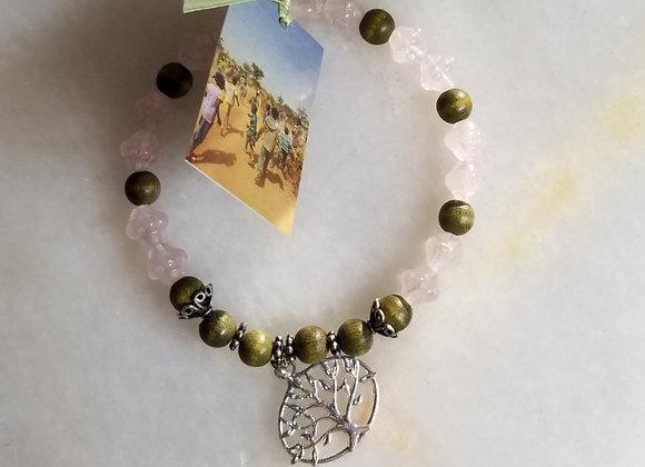 """Bracelet #46 - Pink Gls/Grn Wood -9"""""""