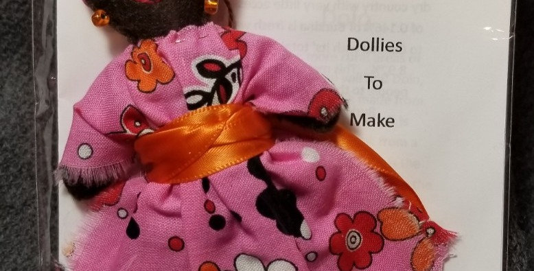 Burkinabe Lady Doll Ornament w Info Booklet - Pink Floral