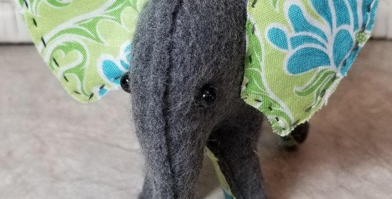 Felt Elephant - Volunteer Made - Green/Aqua/White Floral