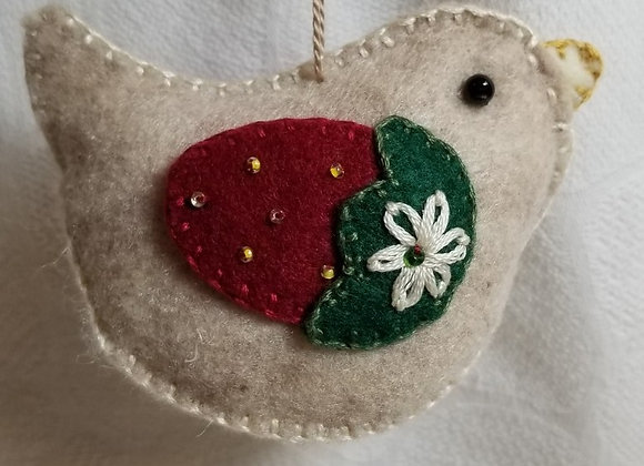 Felt Bird Ornament  #OrnB-2 - Strawberry Taupe