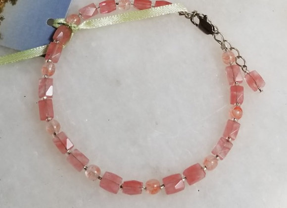 "Bracelet Cherry Quartz #B-4 - 8"""