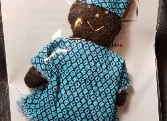 Burkinabe Man Doll Ornament w Info Booklet - Blue Diamond