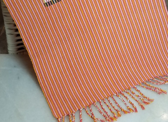 Weaving - Coral/White/Yellow w Tassels