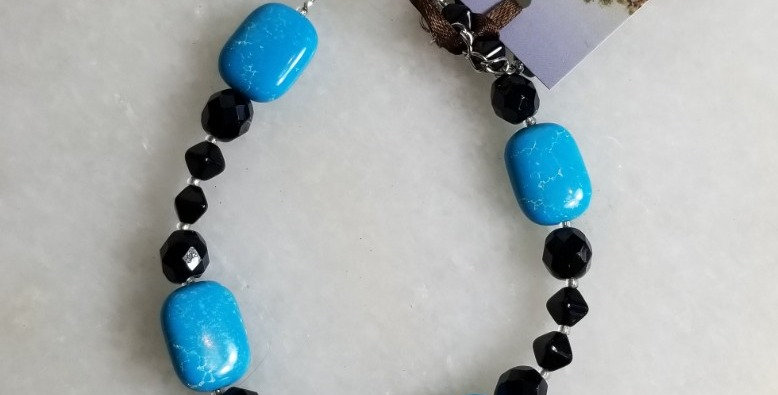 "Bracelet - Black & Turquoise - 9"""