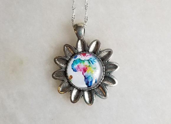 "Necklace #65  - Flower/Africa - 18"""