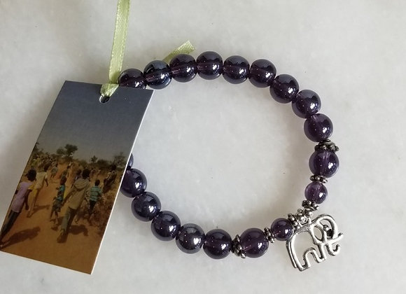 Bracelet #36 - Purple/Elephant/ Large Bead- 8""