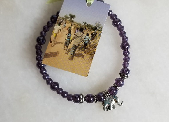 Bracelet #37- Purple/Elephant - 6""