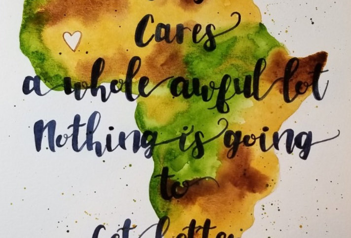 Unless Someone Like You...Original Watercolour Green/Brown