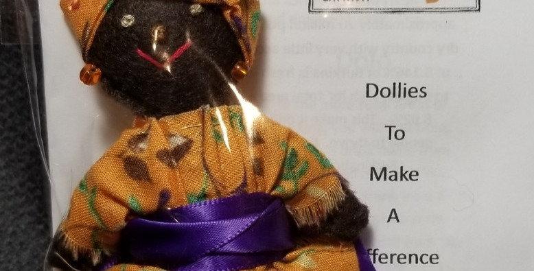 Burkinabe Lady Doll Ornament w Info Booklet - Orange