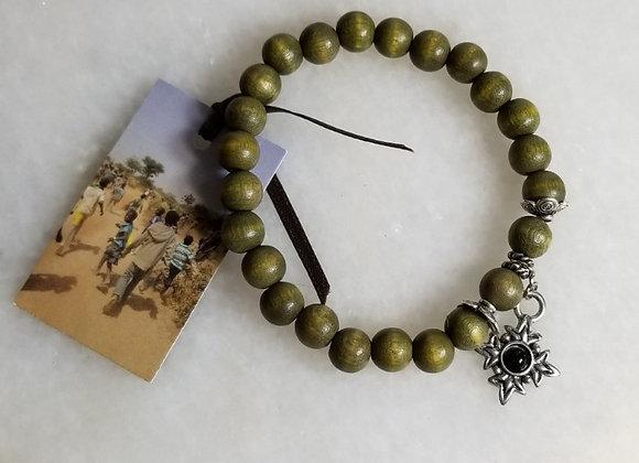 "Bracelet #30 - Black Star Green Wood -6 1/2"""