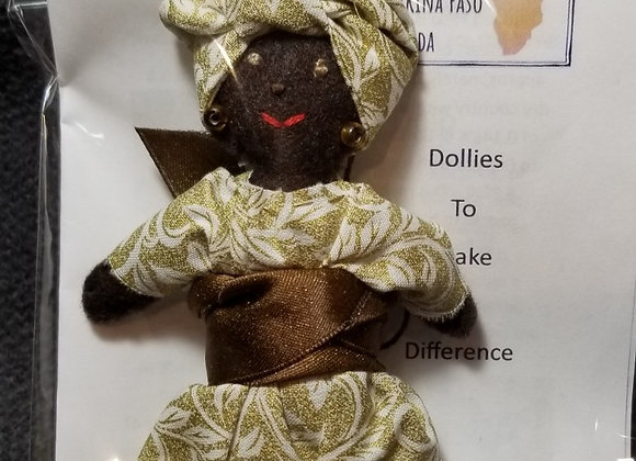 Burkinabe Lady Doll Ornament w Info Booklet - Gold & White