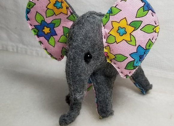 Felt Elephant #EL-1 - Pink w Blue & Yellow Flower