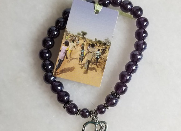 Bracelet #38 - Purple/Elephant/Lg Bead -8""