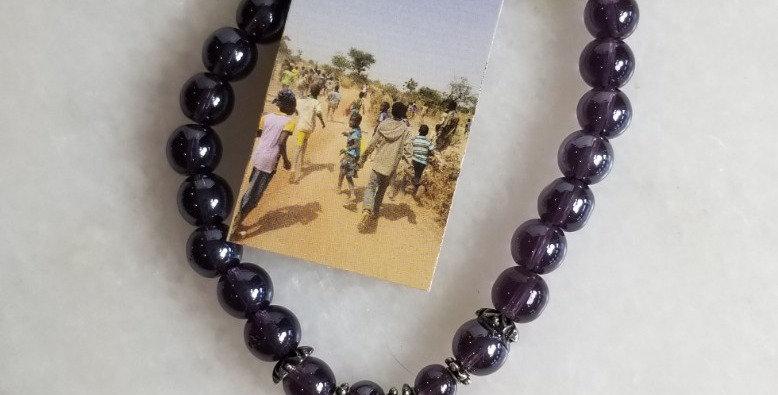 "Bracelet - Purple/Elephant/Lg Bead -8"""