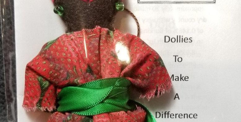 Burkinabe Lady Doll Ornament w Info Booklet - Strawberry