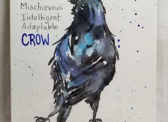"Watercolour 5""x7"" #WCS-9 - Crow w Text"