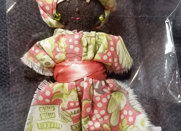 Burkinabe Lady Doll Ornament w Info Booklet - Pink & Green