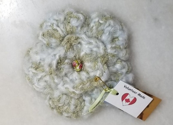 Brooch Crocheted Flower #KC-37 - Blue/Sage