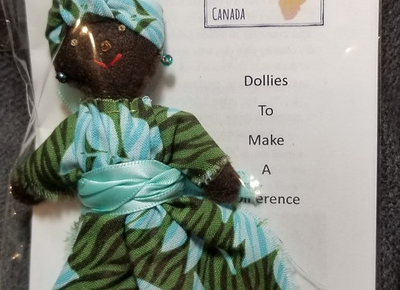 Burkinabe Lady Doll Ornament w Info Booklet - Green & Aqua