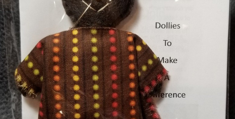 Burkinabe Man Doll Ornament w Info Booklet - Brown w Dots