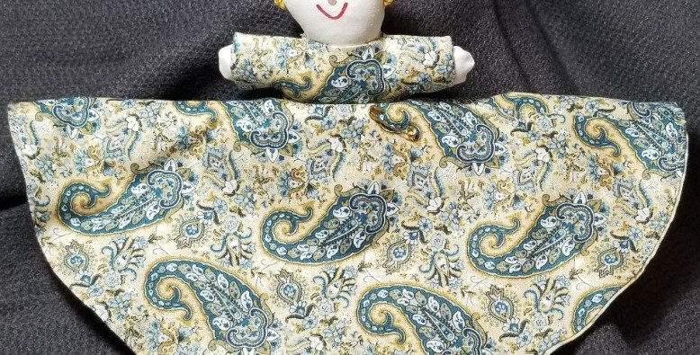 Topsy Turvy Doll-Paisley/Grn & Blue Floral