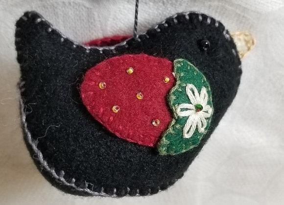 Felt Bird Ornament  #OrnB-1 - Strawberry Black