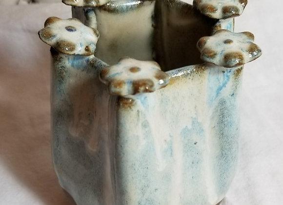 Pinched Flower Vase - Light Blue