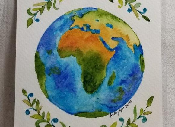 "Watercolour 5""x7"" #WCS-4 - Africa w Leaf Filagree"