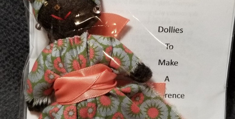 Burkinabe Lady Doll Ornament w Info Booklet -Grey/Green/Coral