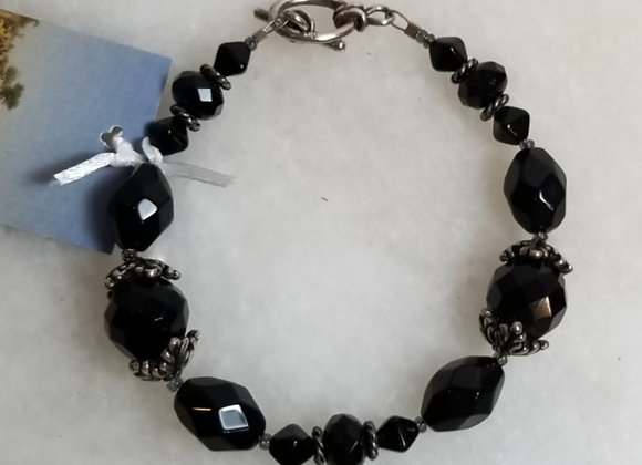 "Bracelet Black Glass w Pewter #B-2 - Multi -7 1/2"""""