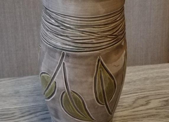 Vase #P-75- Grey w Leaves