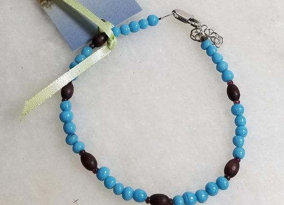 "Bracelet Turq Glass & wood #B-6 - 7"""